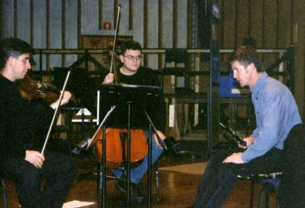 Nicholas Milton, Cameron Waters and Peter Duggan in rehearsal